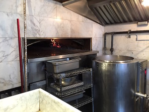 Wood fired oven and bagel bath at Black Seed on First Avenue