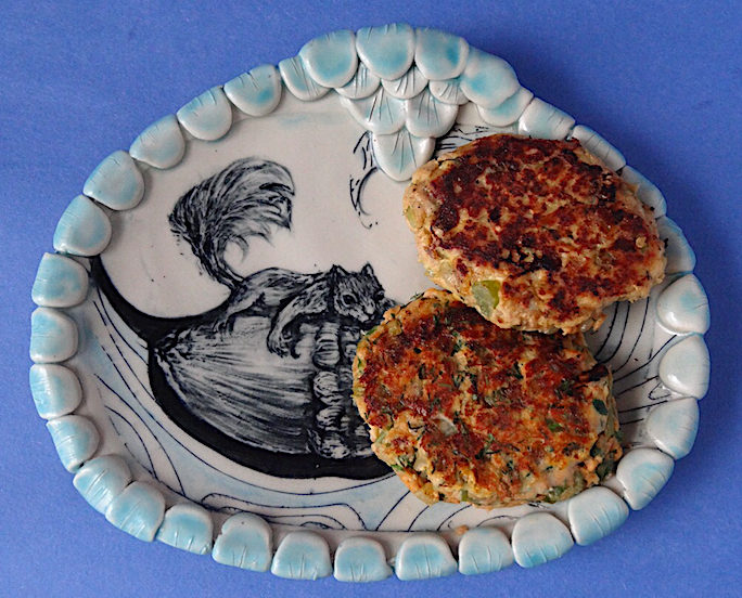 Salmon burgers plate by Chandra DeBuse