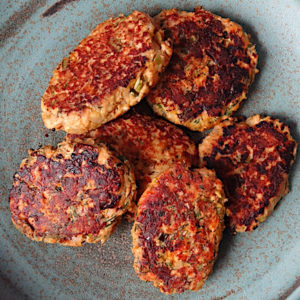 cooked salmon burgers
