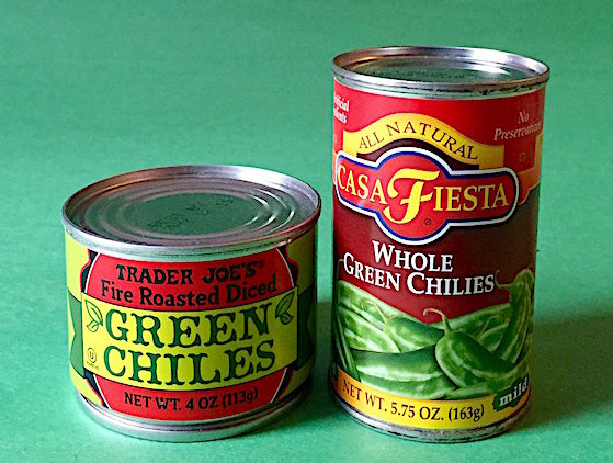Canned green chilis/chilies