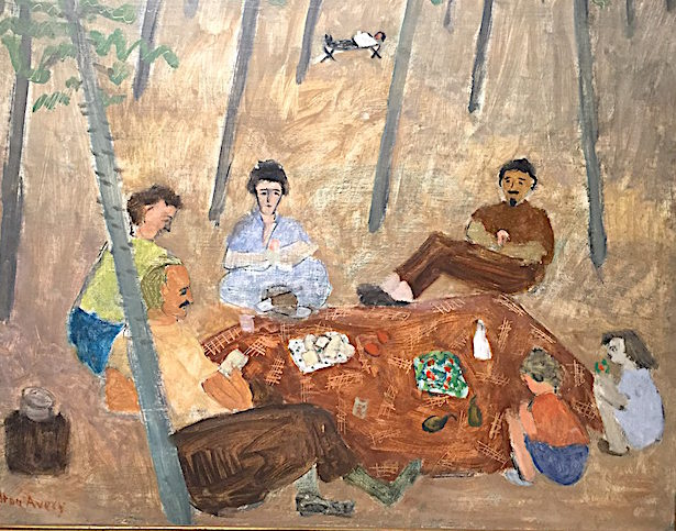 detail of picnic scene by Milton Avery in the Avery show on exhibit now at the Bennington Museum