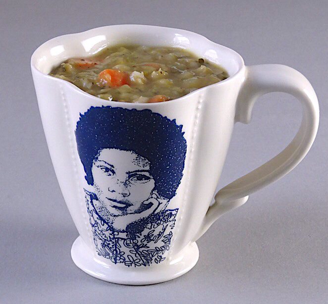 Split Pea Soup with Barley and Vegetables bell hooks and Sojourner Truth cup from The Democratic Cup cup designed by Kristen Kiefer - Image by Roberto Lugo