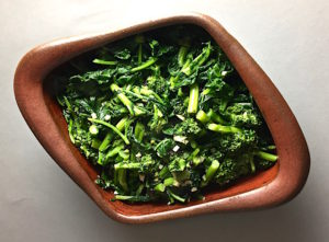 Broccoli Rabe with Garlic, Currants and Chili Flakes Flameware Casserole Dish by Robbie Lobell