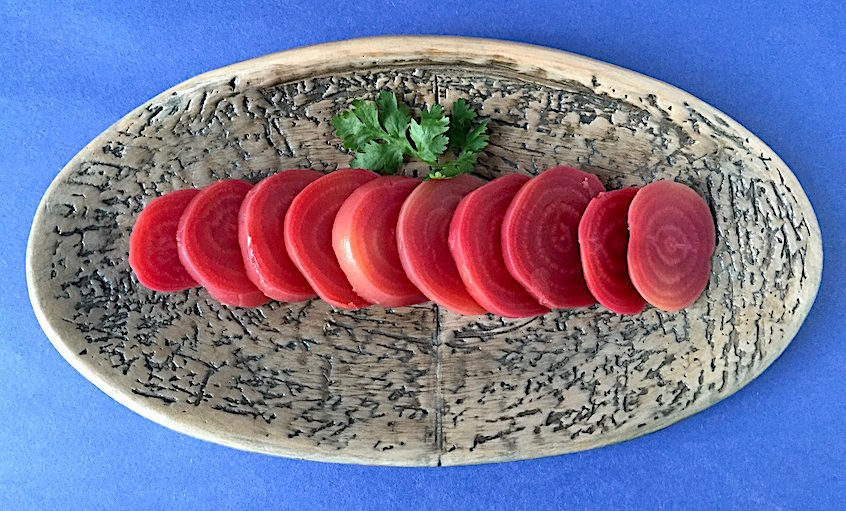 Chiogga Beets simply boiled and sliced Plate by Mary Barringer