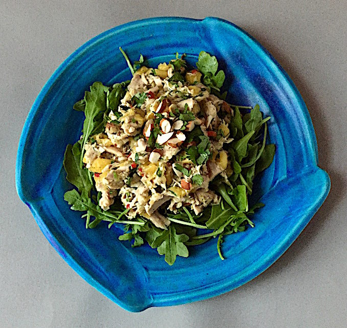 Mango Tomatillo Chicken Salad with Almonds Plate by James Makins
