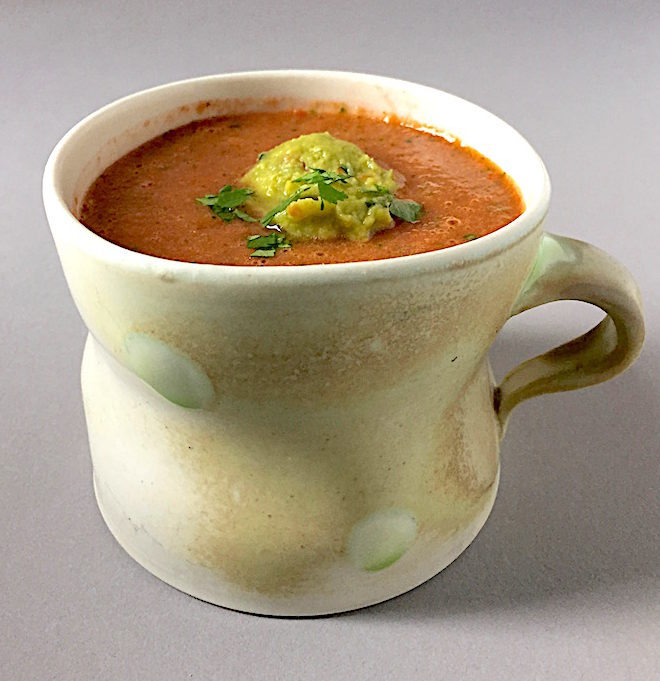 Summer gazpacho with guacamole Porcelain cup by Sam Chung