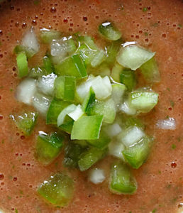 Chopped vegetables add texture to summer gazpacho