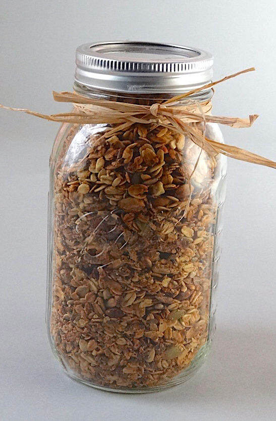 Quart of homemade granola packaged and ready to gift