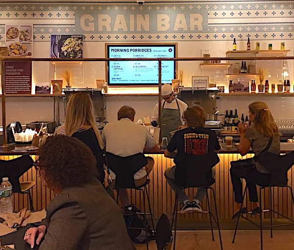 The Grain Bar on one side of the Great Northern Food Hall serving morning porridges and full meals later in the day
