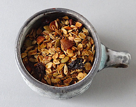Granola in a wood fired cup by Perry Haas