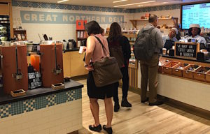 Grab coffee, sandwiches, salads, bread, pastry and all kinds of food gifts at the Great Northern Deli off the hallway near the S shuttle to Times Square