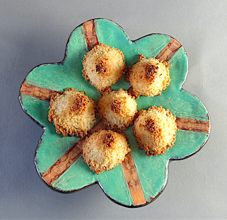 Lemon Coconut Haystacks Earthenware flower plate by Holly Walker