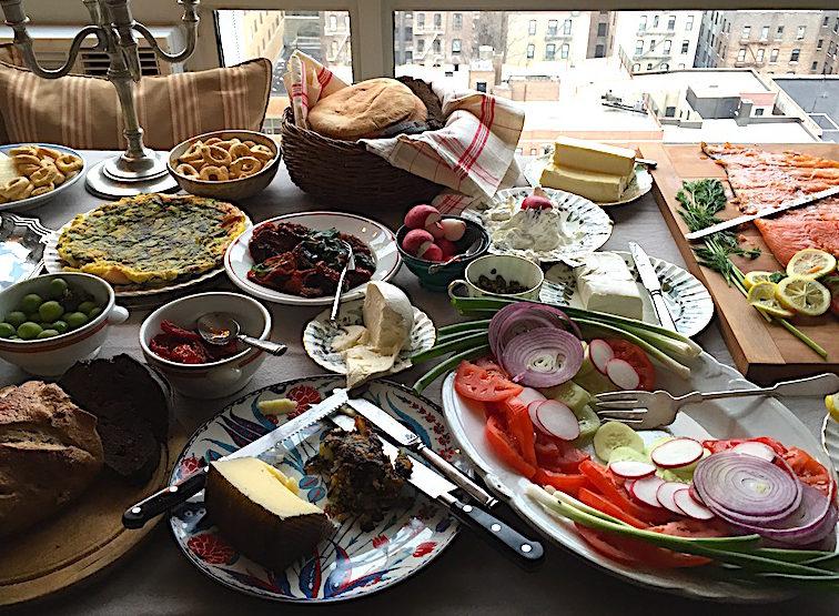 Indoor potluck picnic at a friend's apartment