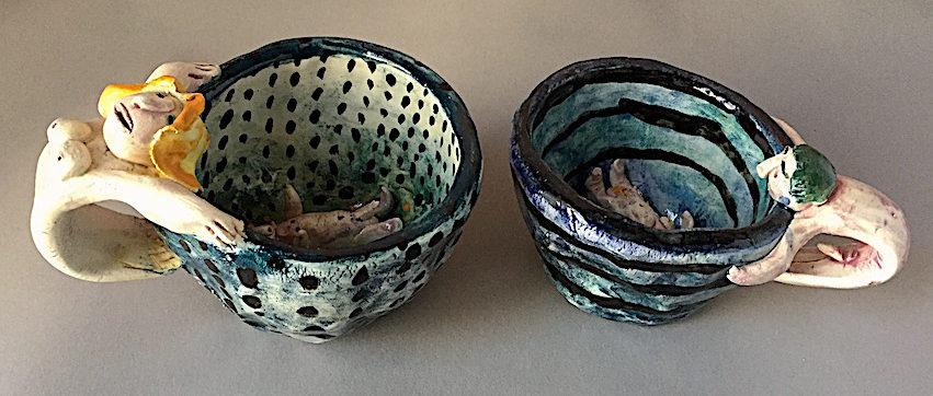 Karon and Louie Earthenware cups by Karon Doherty