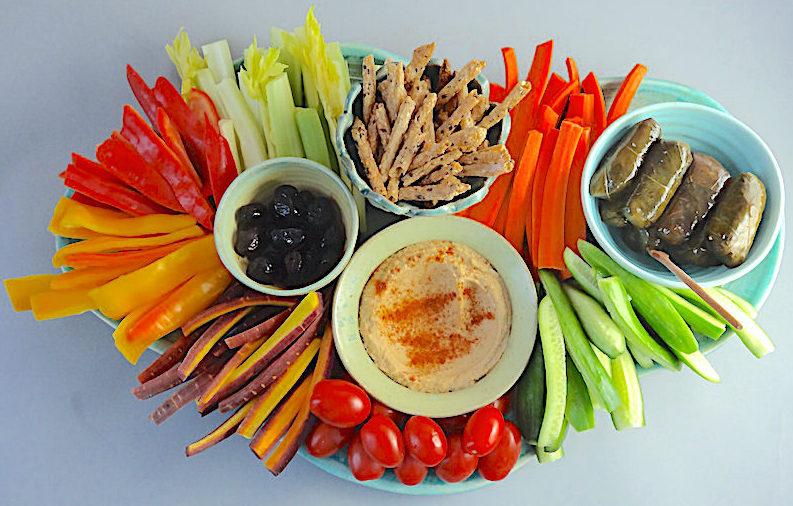Mezze platter, heavy on the vegetables My bowls and platter