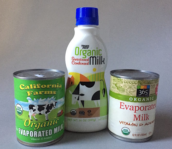Organic evaporated and sweetened condensed milk is now widely available