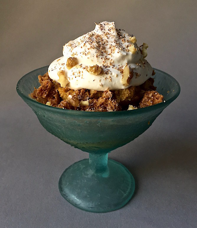 Pumpkin Pudding Parfait with crumbled ginger cookies, walnuts, whipped cream and nutmeg Glass Compote Dish by Fossil Glass/Christina Salusti