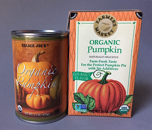 Organic pumpkin comes in cans and shelf stable boxes