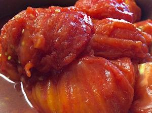 Peeled roasted heirloom tomatoes photo by Iris Kimberg
