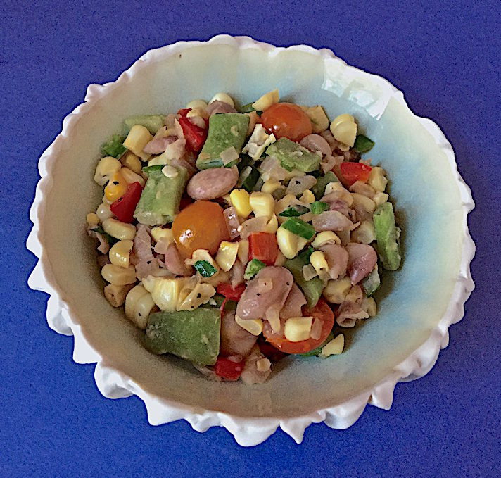 Succotash with cranberry and Romano beans and cherry tomatoes Porcelain bowl by Heather Knight, Elements Clay Studio