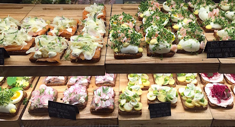 Smorrebrod (open face sandwiches) at Great Northern Food Hall