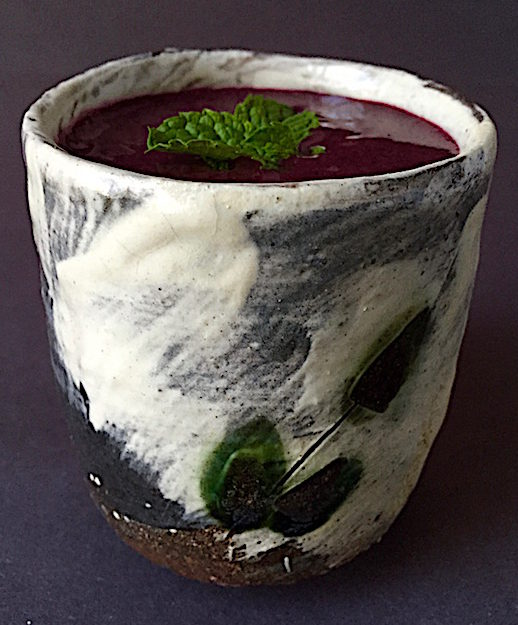 Cold Blueberry Soup with mint leaves Cup by Naomi Dalglish and Michael Hunt, Bandana Pottery