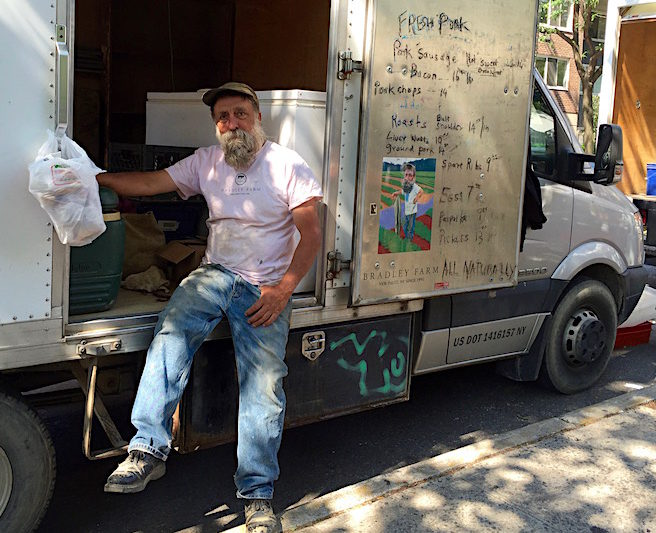 Bradley drives his vegetables to markets in New York from New Paltz twice a week in the summer