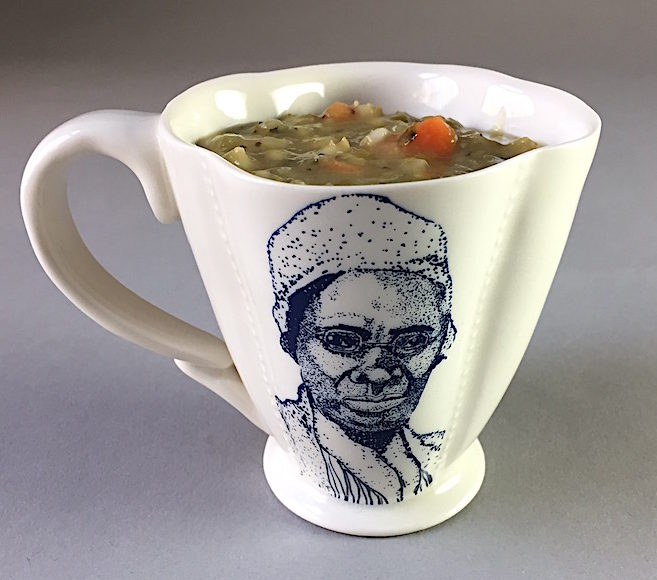bell hooks and Sojourner Truth cup (verso) by The Democratic Cup Image by Roberto Lugo - Cup designed by Kristen Kiefer